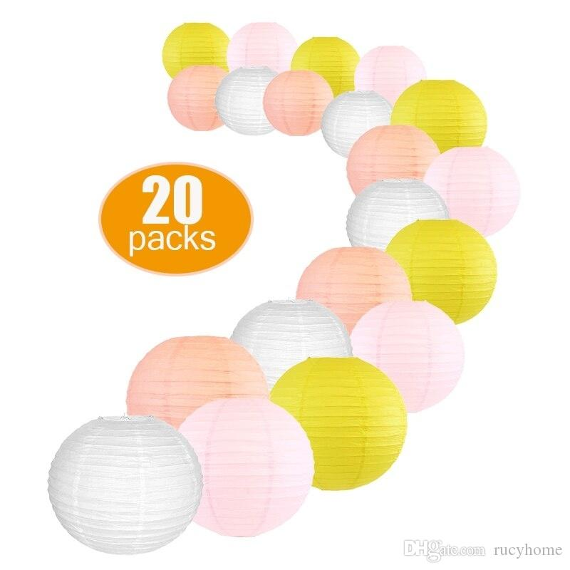 20 Pcs Per Set DIY Paper Lantern Mixed Sizes Wedding Supplies White Peach Pink Lemon paper Ball for Birthday Party Hanging Decor