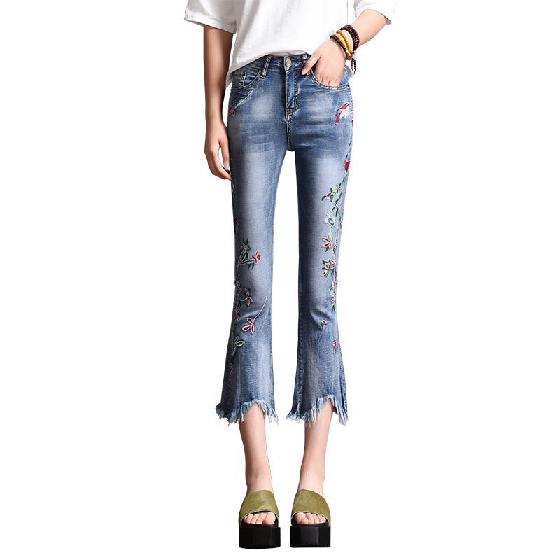 Brodé Jeans Casual Femmes Femme Pants Capris Flare 2019 Denim Été Bleu Mode Floral Tassel Vintage Jean Déchiré SLVqzUMGp