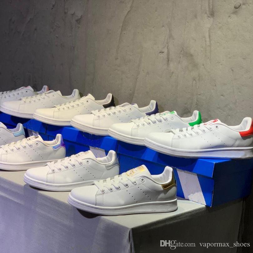 Original Stan Smith Chaussures Designer PU En cours d'exécution en cuir Chaussures Casual Pour Hommes Femmes Blanc Noir Baskets athlétique