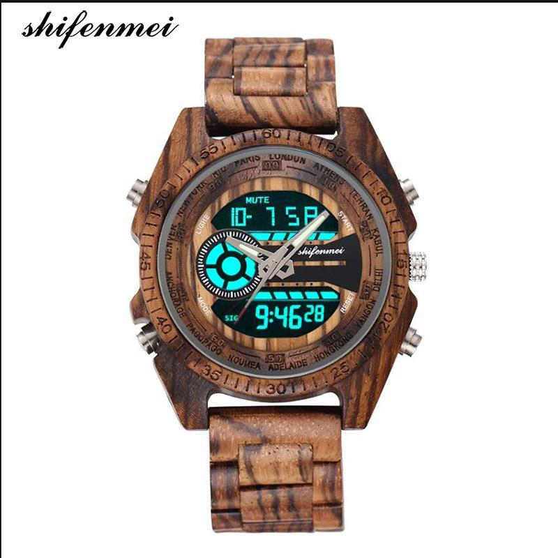 shifenmei S2139 Antique Natural Digital Men Watches LED display engraved Wooden Luminous Hand boys brand male female watch