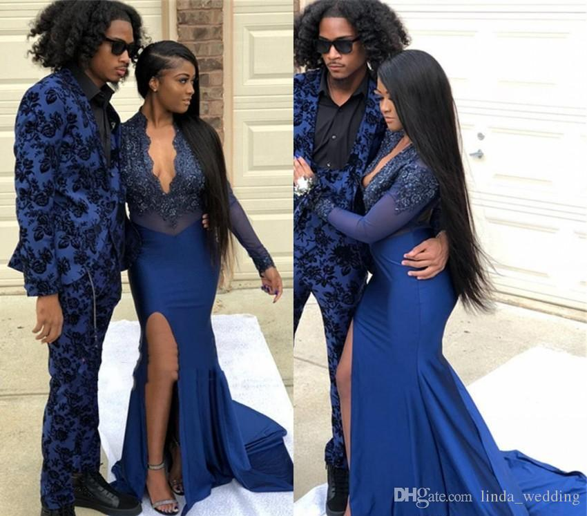 Mermaid Prom Dresses 2019 African Black Girls Appliques Long Sleeve Holidays Graduation Wear Evening Party Gowns Custom Made Plus Size