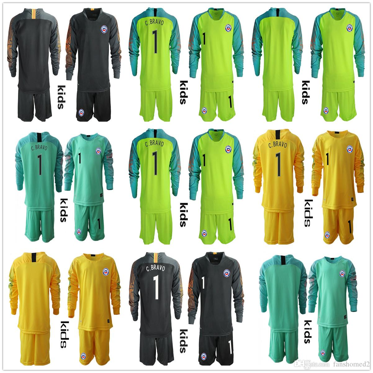 2019 Long Sleeve Youth 2018 2019 Kids Boys Soccer Jerseys  1 C. BRAVO Chile  Goalkeeper National Team GK Jerseys Kid Football VALDIVIA Kid Uniform From  ... 24208c9ac