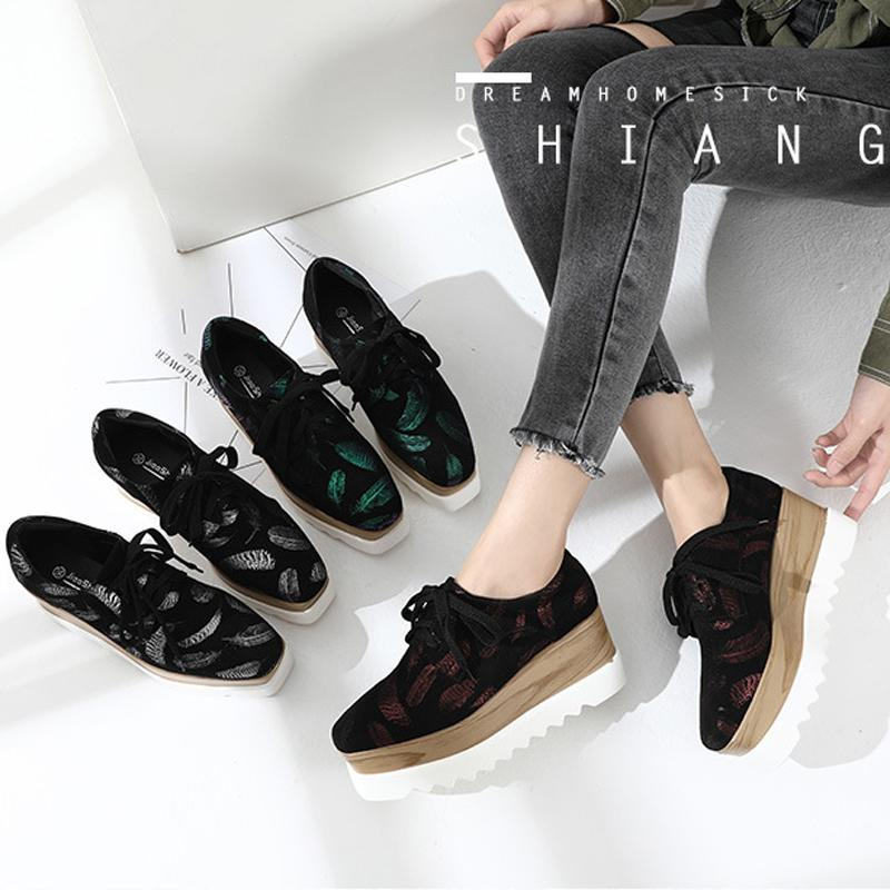 a600ad0b 2019 Women Lace Up Wedges Sneakers Feather Prints Square Toe Oxford ...