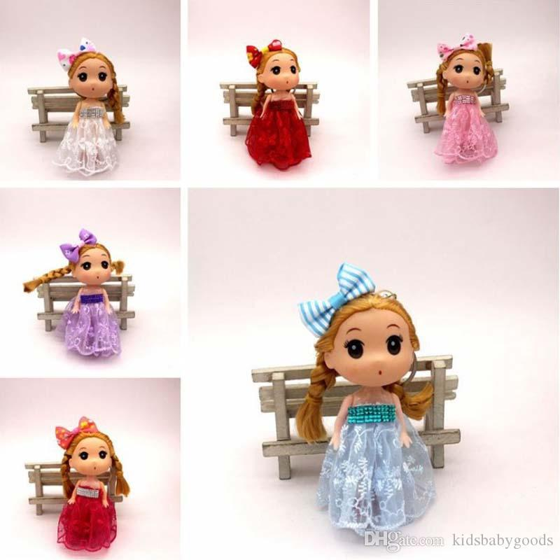 "3.7""/12cm Mini Doll Cute Face Toys Doll Little Girl Princess Keychain Pendant 3-4 Year Decoration"