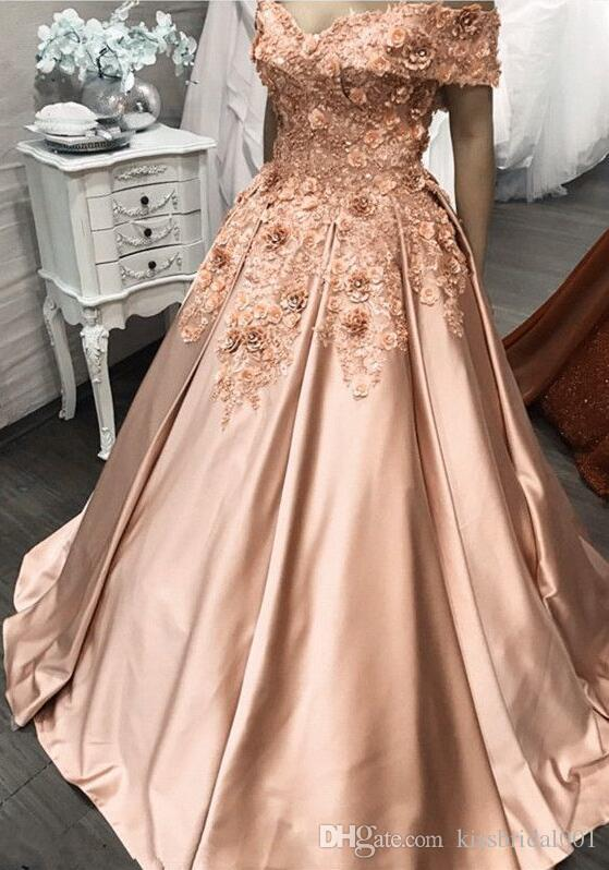 Abendkleider 3D Flower Prom Dresses Long Off the Shoulder Beaded Lace Ball Gown Formal Evening Gowns Cocktail Party Dress Quinceanera Gown