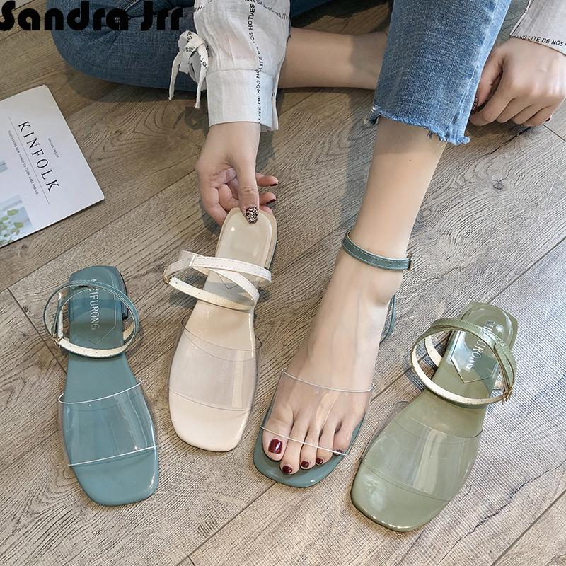 1ecb92cc1 Sandra Jrr Summer Sandals Transparent Flat Heel Open Toe Women ...