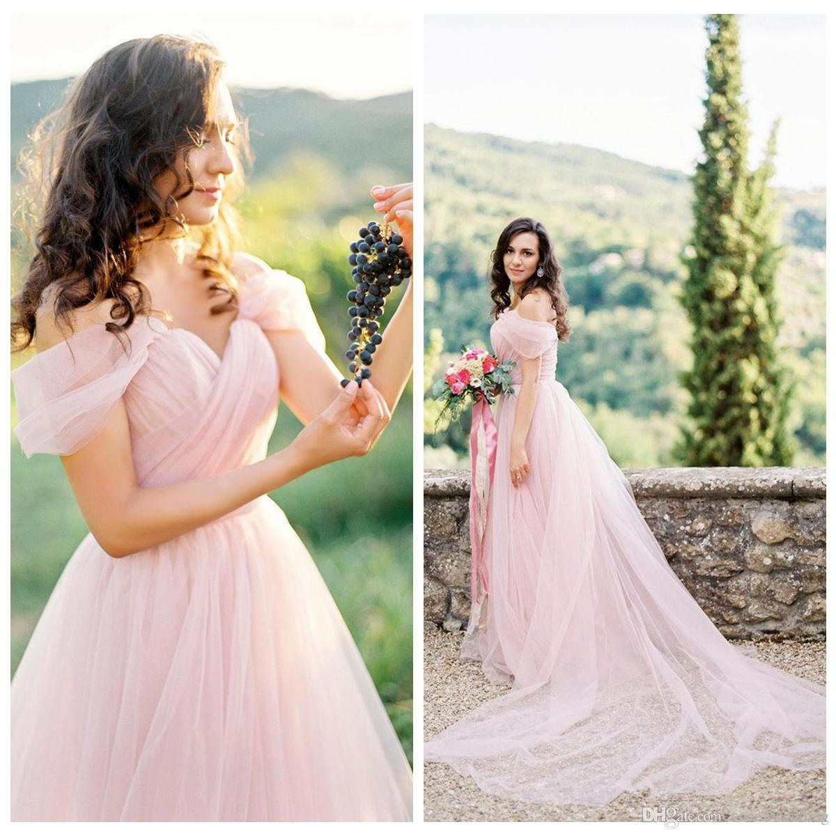 Discount Blush Pink Beach Wedding Dresses Off The Shoulder