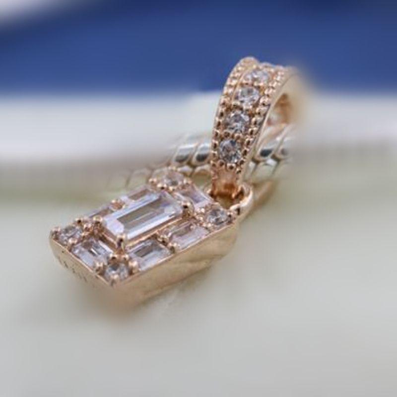 DIY Loose Bead 100% 925 Sterling Silver Rose Luminous Ice Dangle Charm Fits  European Pandora Style Jewelry Bracelets Necklaces & Pendant
