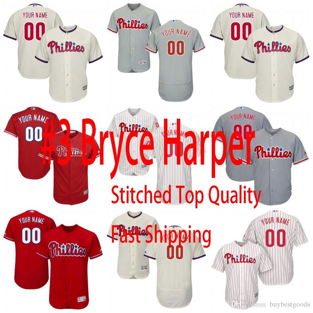 2019 Custom 3 Bryce Harper Jersey Phillies Philadelphia 10 JT Realmuto 30  David Robertson 17 Rhys Hoskins 27 Aaron Nola 7 Maikel Franco S 4XL From ... ec8cbeef4fb