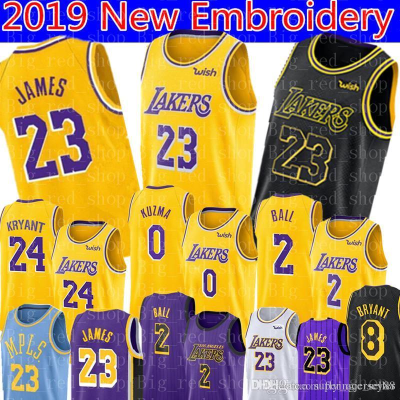 best website e759b d7bb0 2019 LeBron James 23 Laker Jersey Los Angeles James Laker Lonzo 2 Ball Kyle  0 Kuzma 14 Ingram Basketball Jerseys 24 Kobe 8