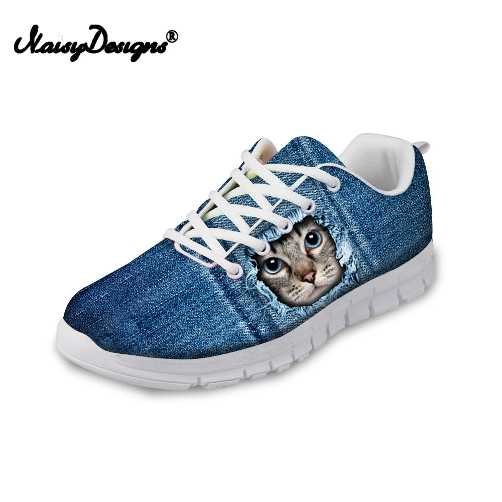 3cf9b23defc1 Noiydesigns Women Jeans Cat Dog Print Sneakers Flats For Female Ladies  Girls Lightweight Mesh Walk Shoes DropShip Custom Gifts