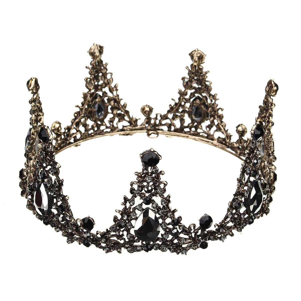 2019 Baroque Full Round Tiara Black Rhinestone Crystal Crowns Vintage Queen  Pageant Bridal Wedding Hair Jewelry Accessories Prom From Dushijewelry 864b0a4539cc