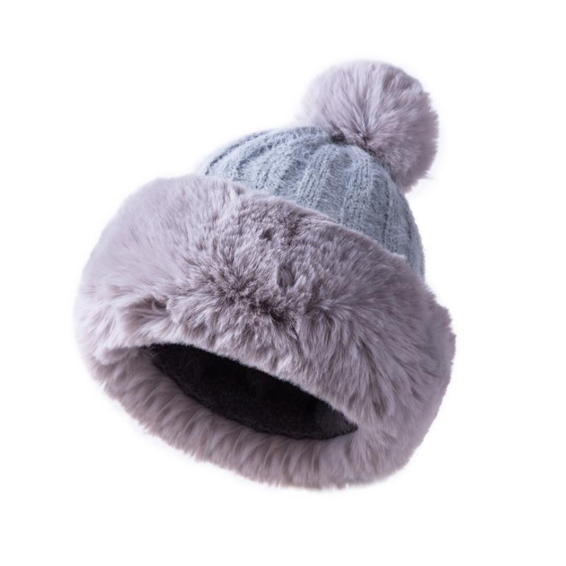 Women Fur Hat Winter Knitted Warm Beanie Toboggan Thick Fluffy Skiing Cap  55 60cm New Crochet Beanie Beanies For Girls From Juemin ec9c652ed9e