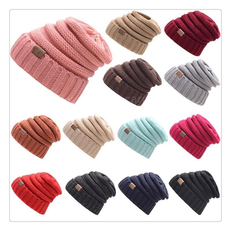 2afe2108c43 CC Knitted Hats CC Trendy Winter Beanie Warm Oversized Chunky Skull ...
