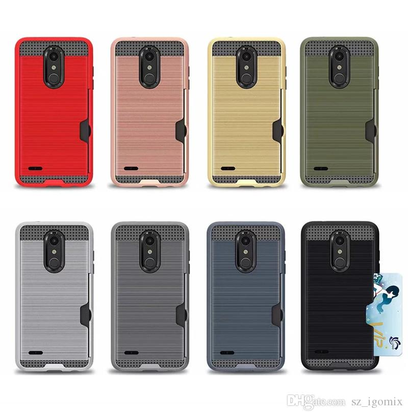 reputable site 41189 4fa65 Free Shipping Cell Phone Case with Card Slot for LG K10 2018 LG G7 V40 Back  Cover