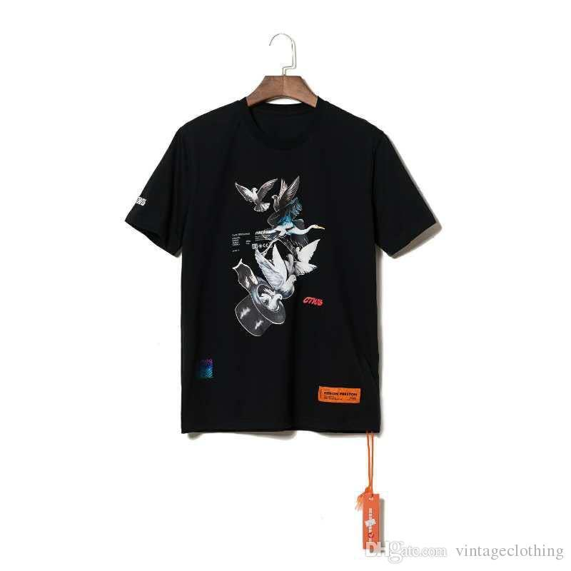 Heron Preston Men Shirts Summer Short Sleeve Tops O Neck Hip Hop Male Solid Black White Shirt