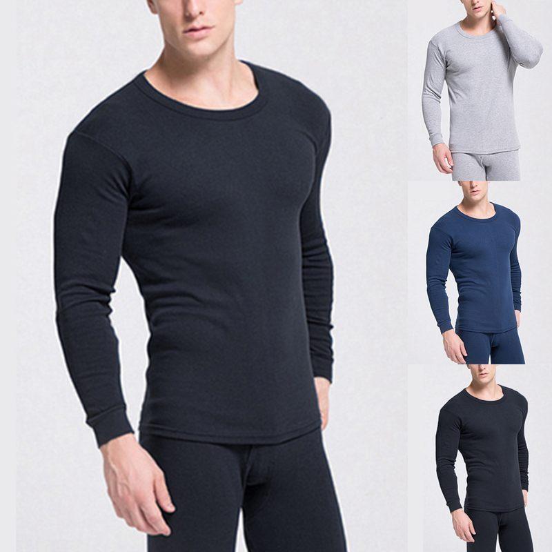 11ca58470f0 Men's Thermal Underwear Sets Cotton Slim Fit Solid Color Soft Men Long Johns  Pajamas Men Long Sleeve Tops Bottoms Underwear Sets