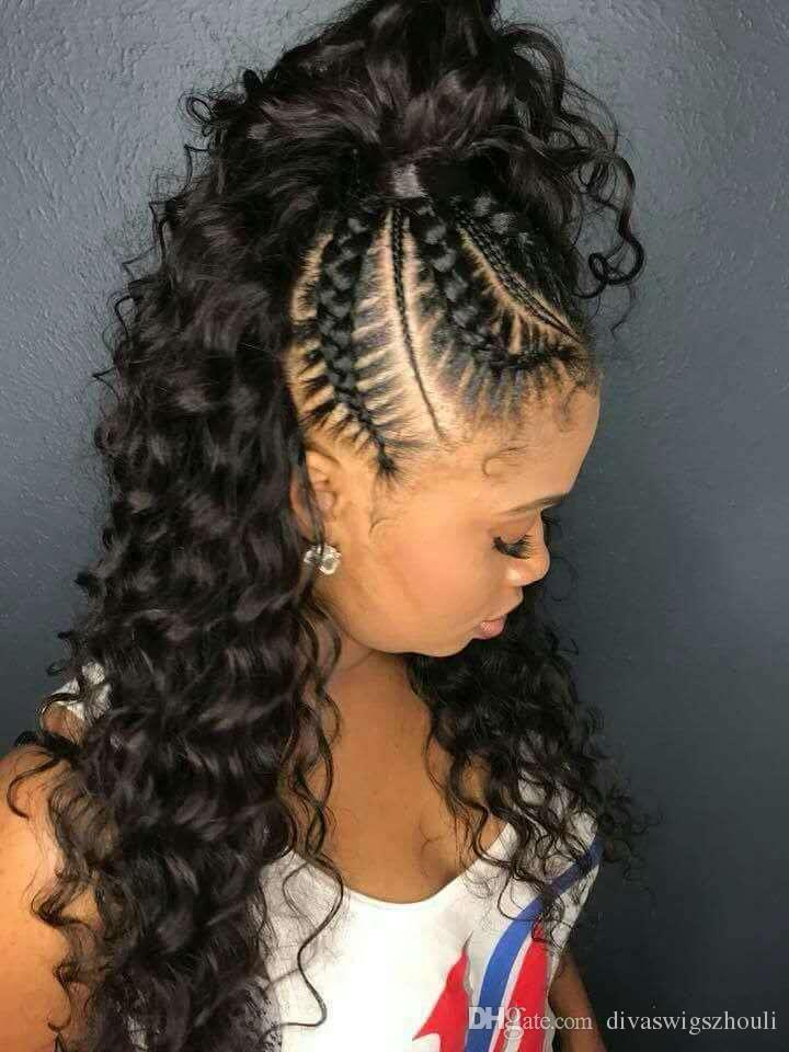 Long Curly Black Ponytail Hairstyle Women Pony Tail ...