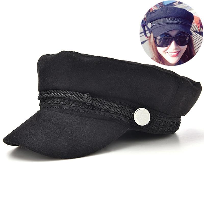 98cca3f2d3cdb Black Vintage Beret Fashion Women Streetwear Rope Casual Flat Cap ...