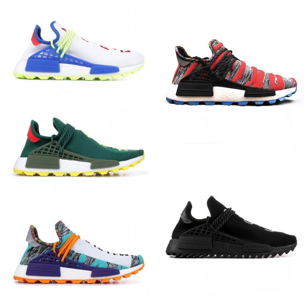 d2ecf4661 2019 New Human Race Trail Running Shoes Mens Women Pharrell Williams HU  Runner Yellow Black White Red Green Grey Blue Sport Designer Sneaker Slip On  Shoes ...