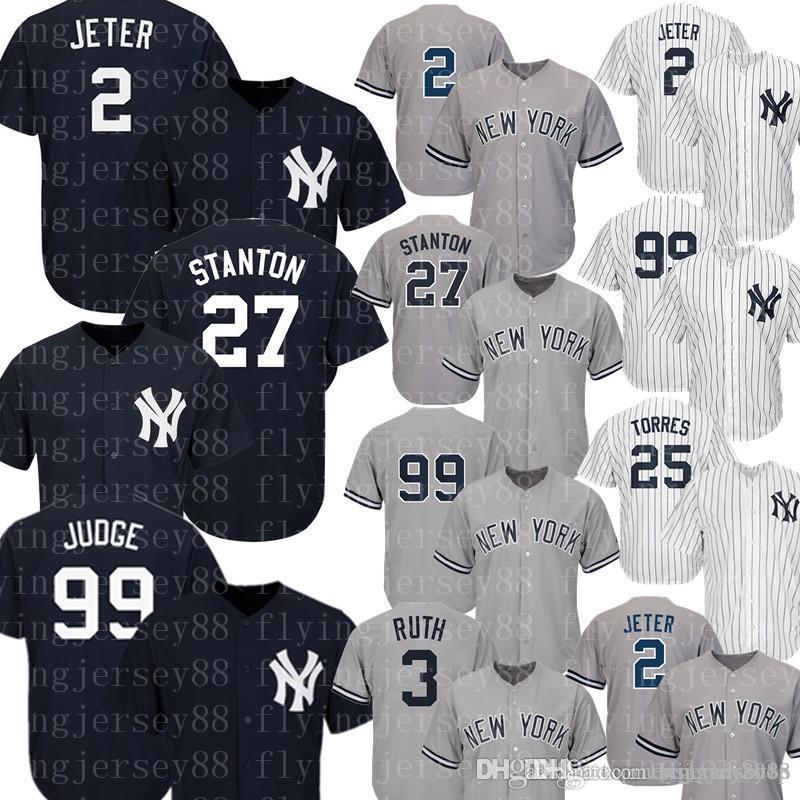 best service 003ab e641d Yankees Jersey Aaron Judge Jeter Gregorius Sanchez Torres Don Mattingly  Gary Sanchez Mickey Mantle Babe Ruth Baseball Jerseys 99 2 27 23 24