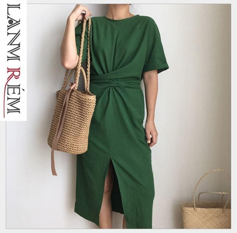 LANMREM 2019 Summer New Solid Color Loose Round Neck Natural Waist Vintage Split The Fork Fashion Women Dress E4100 Q190423