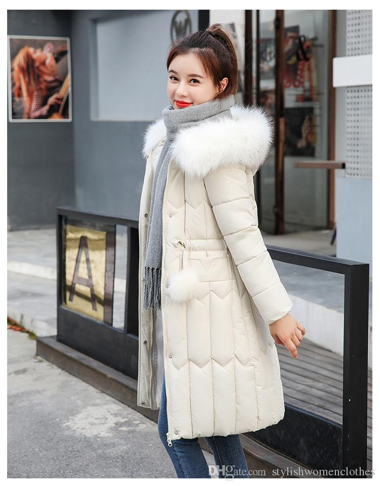 Womens clothing winter Hooded Coats Plus Size Thick Big Fur Women Long Down Parkas Slim Winter Jacket New Cotton Padded Jackets Female