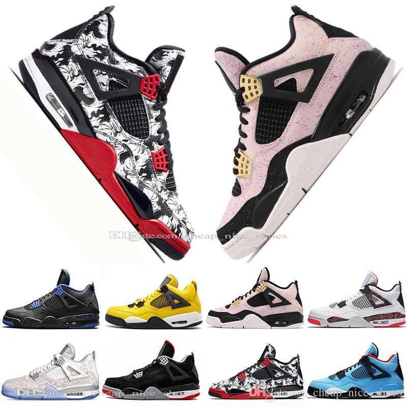 d7470060 In Stock 2019 New Bred 4 4s What The Cactus Jack Laser Wings Mens Basketball  Shoes Denim Blue Pale Citron Men Sport Designer Sneakers 5.5 13 Men Shoes  ...