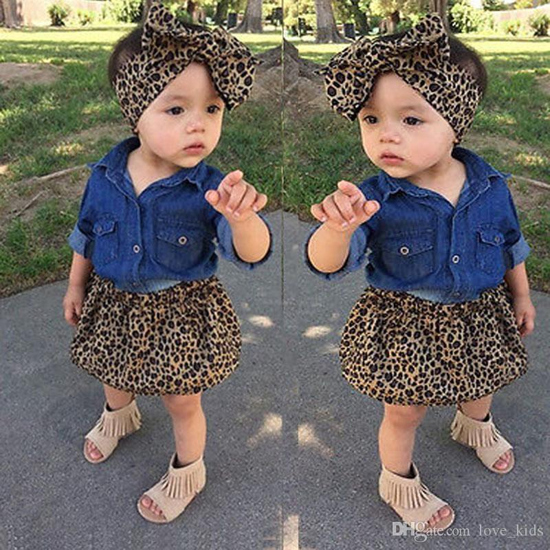 3pcs clothing sets denim long sleeve T-shirt and leopard printed skirt and headband baby girl summer clothing sets