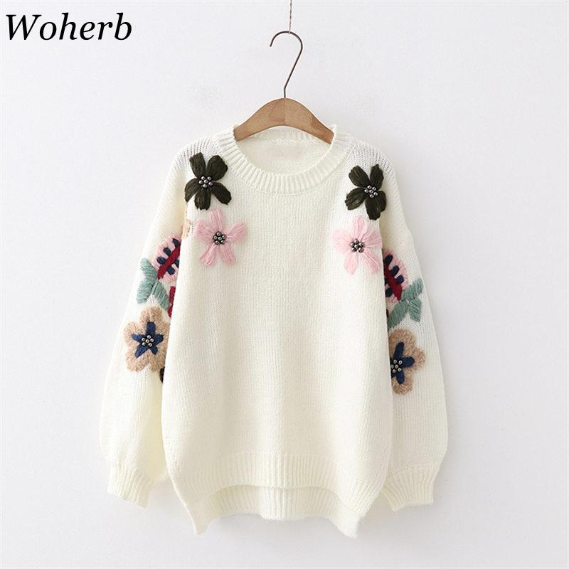 c2dcefe19714 Woherb Loose Elegant Flower Embroidery Pullovers White Sweater Women ...