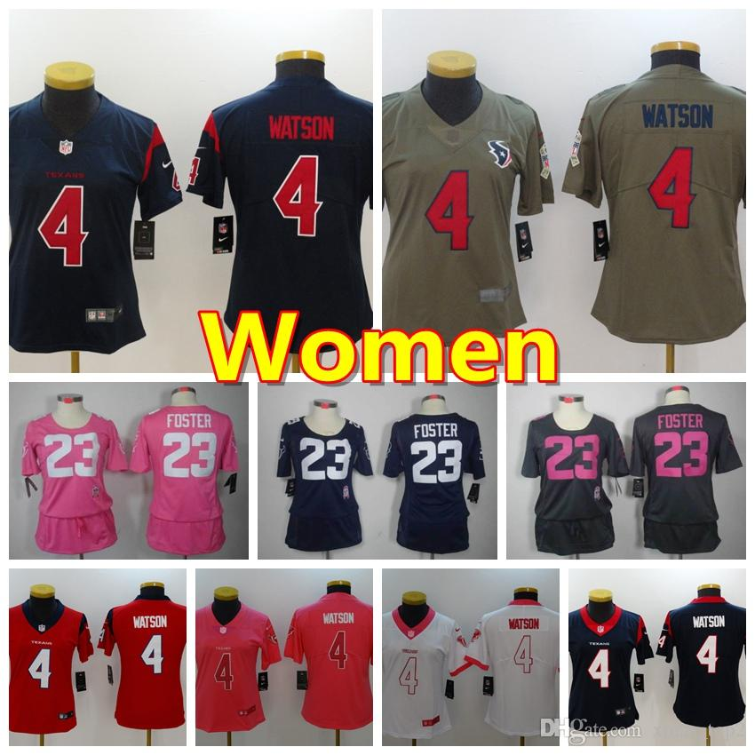 outlet store b114e b4505 2019 Women 4 Deshaun Watson Jersey Houston Texans Football Jersey 100%  Stitched Embroidery Deshaun Watson Color Rush Women Football Shirt