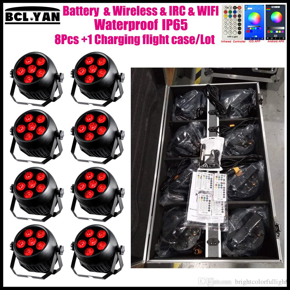 8XLOT With fly case Waterproof led battery powered wireless dmx par light with IR remote wifi for dj 6*18w RGBWAUV 6 IN 1