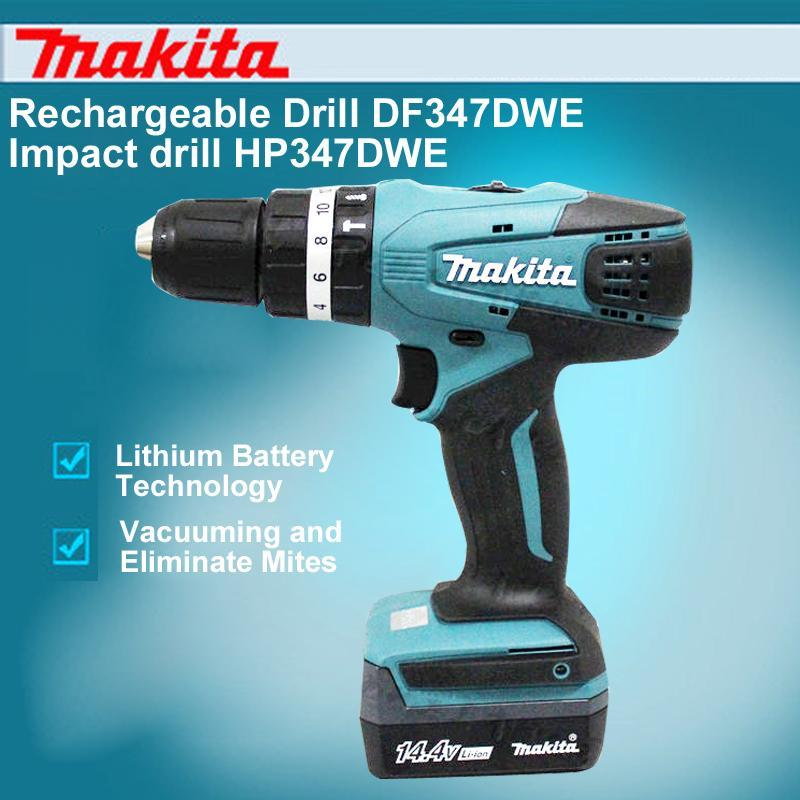 Japan Makita Rechargeable Drill DF347DWE Impact Drill HP347DWE 14.4V Lithium Electric Screwdriver