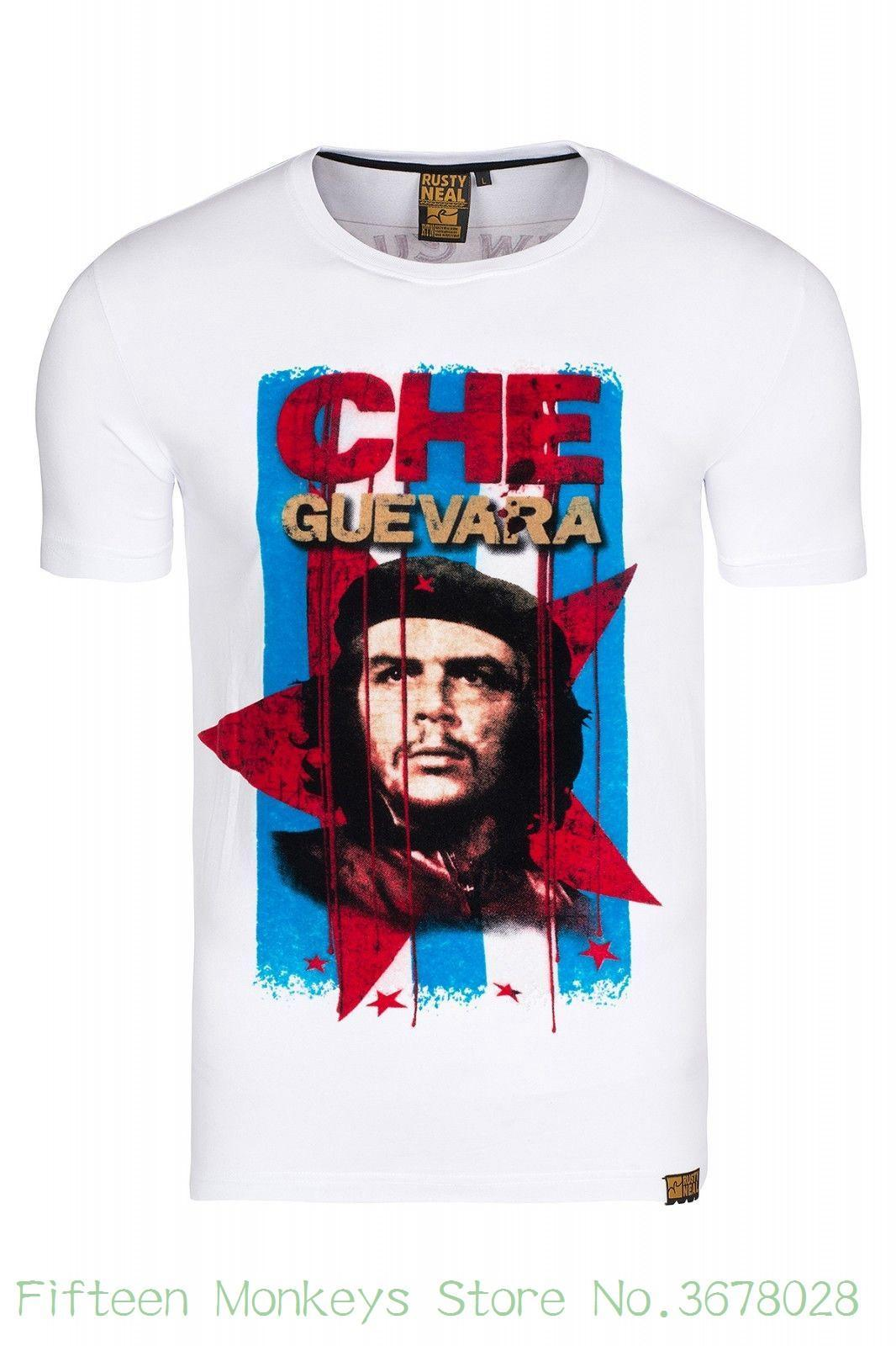 7f5f5486d Men O neck Tee Shirt Che Guevara T-shirt Slim Fit Men's Shirt Crew Neck  White Rusty Neal Sale