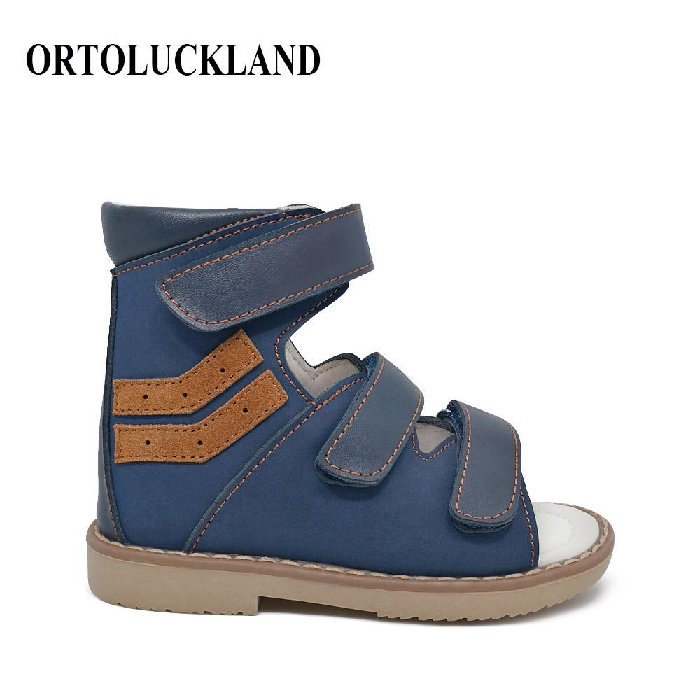 5ef2e8bd7b Children Boy Dark Blue Orthopedic Sandals Shoes Kids Nubuck Leather ...