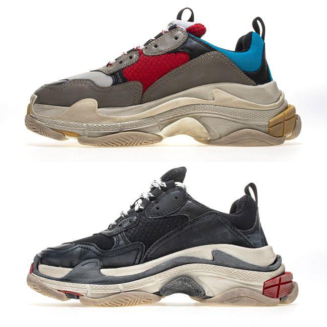 821c6281c30 Compre Empilhados Entressafra Triple S Sneakers Homens Mulheres Italiano  Sapatilhas Afligidas Sapatos Casuais Paris 17FW Sapatilha Moda Triplo S  Desgastado ...