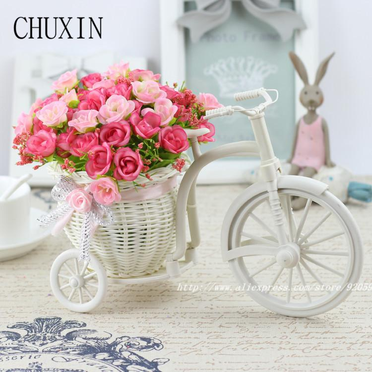 gift decorating ideas High Quality meters samll rose artificial flower set  rattan vase flowers home decoration Birthday Gift
