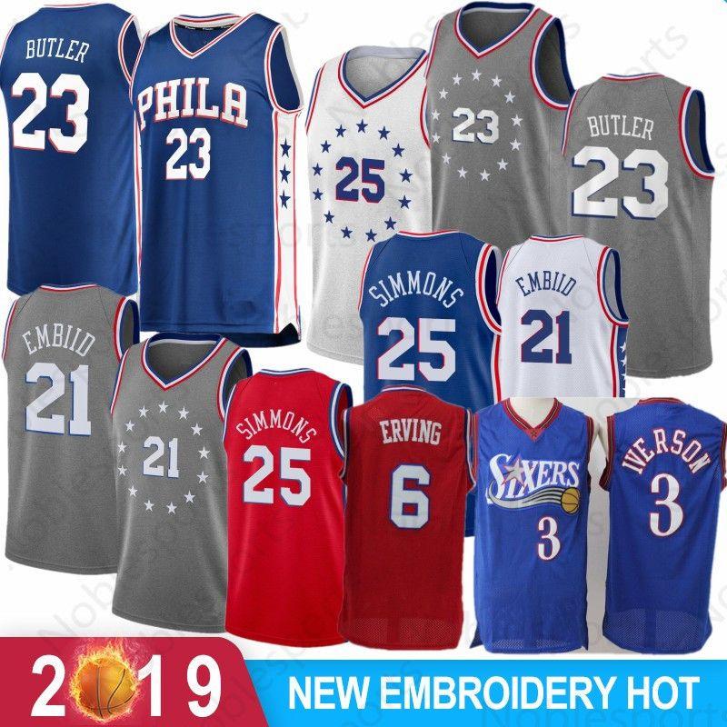 a53bec17968 2019 Jimmy 23 Butler Philadelphia 21 Joel   Embiid 76ers 25 Ben   Simmons  Jersey 3 Allen 3 Iverson City J.J. 17 Redick Basketball Jerseys From  Noblesports