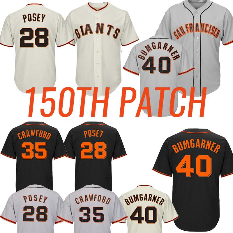 28 Posey 35 Brandon Crawford 35 Brandon Crawford San Beisebol Francisco Jerseys Gigante