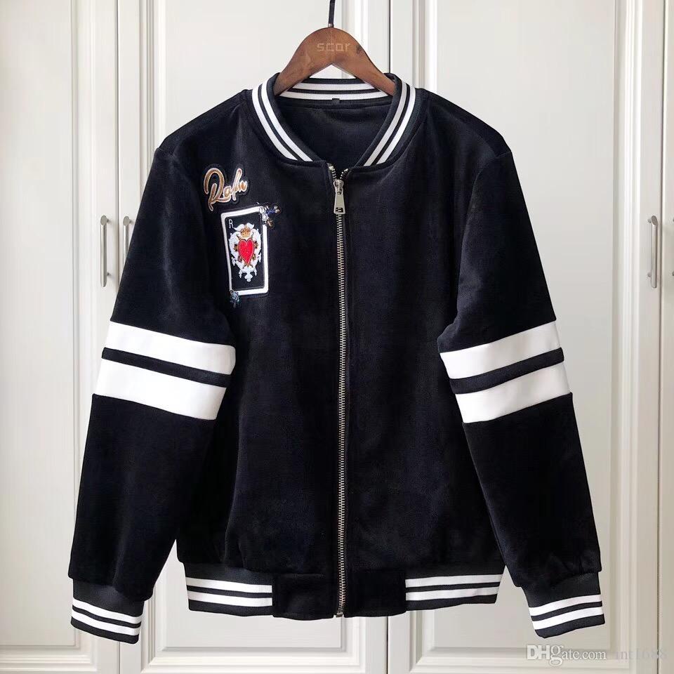 Acquista 2019 Italia Moda Cappotto Uomo Giacca Casual Uomo Baseball  Uniforme Zipper Poker Corona Amore Ricamo Felpa Con Cappuccio Marchio Di  Abbigliamento A ... ab0bc9ee683f