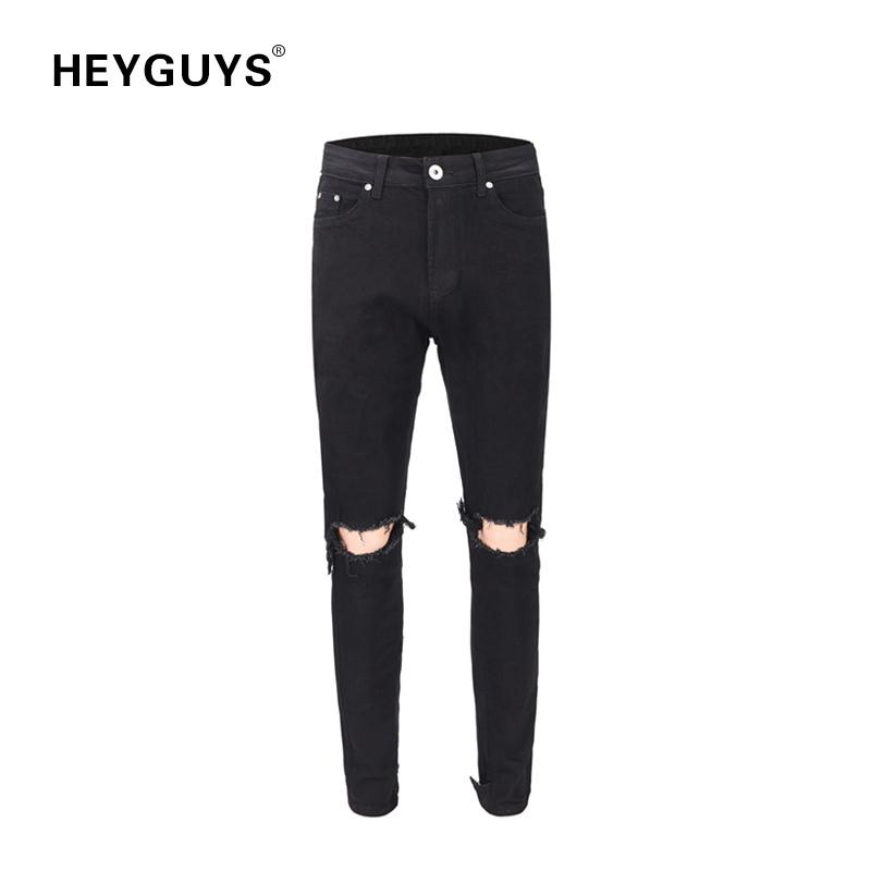 Cool2019 Pantalons Street Autumn Joker Bound Feet Pants Self-cultivation Black Knee Trous Jeans Marée Homme