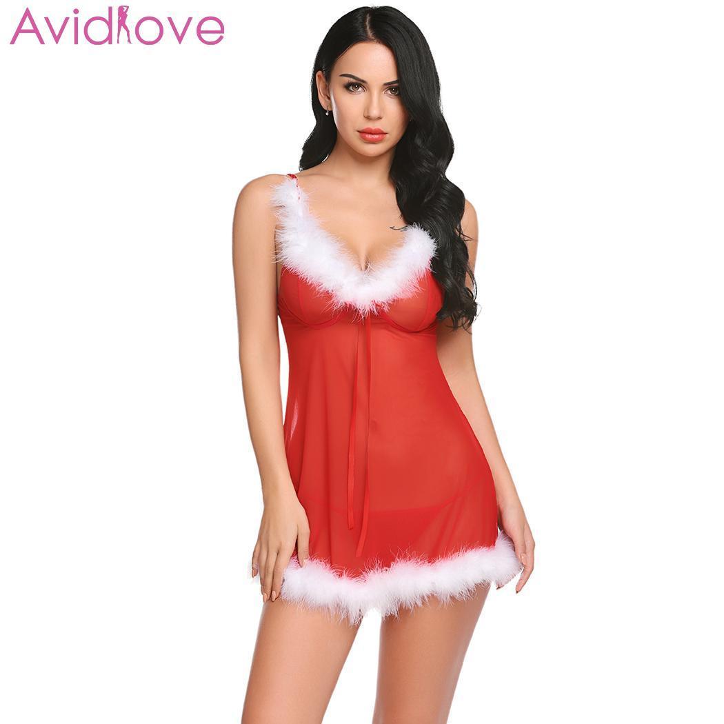 641abd63041 2019 Avidlove Baby Dolls Sexy Lingerie Sleepwear Christmas Women Sheer Hip  Nightwear Lingerie Hot Erotic Nightgown G String Waist From Jinggongcoat
