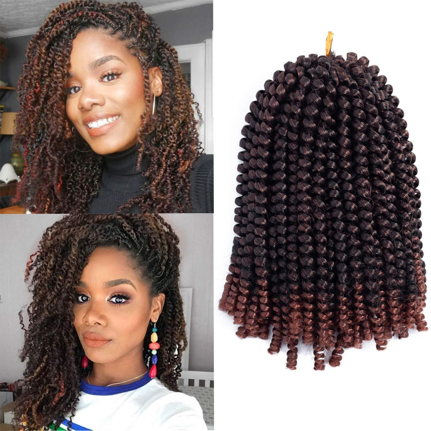 Synthetic Spring Twist braiding hair 3pack Crochet Braids Hair 8 inch  Synthetic Jamaican Bounce Twist Ombre Braiding Hair Extensions