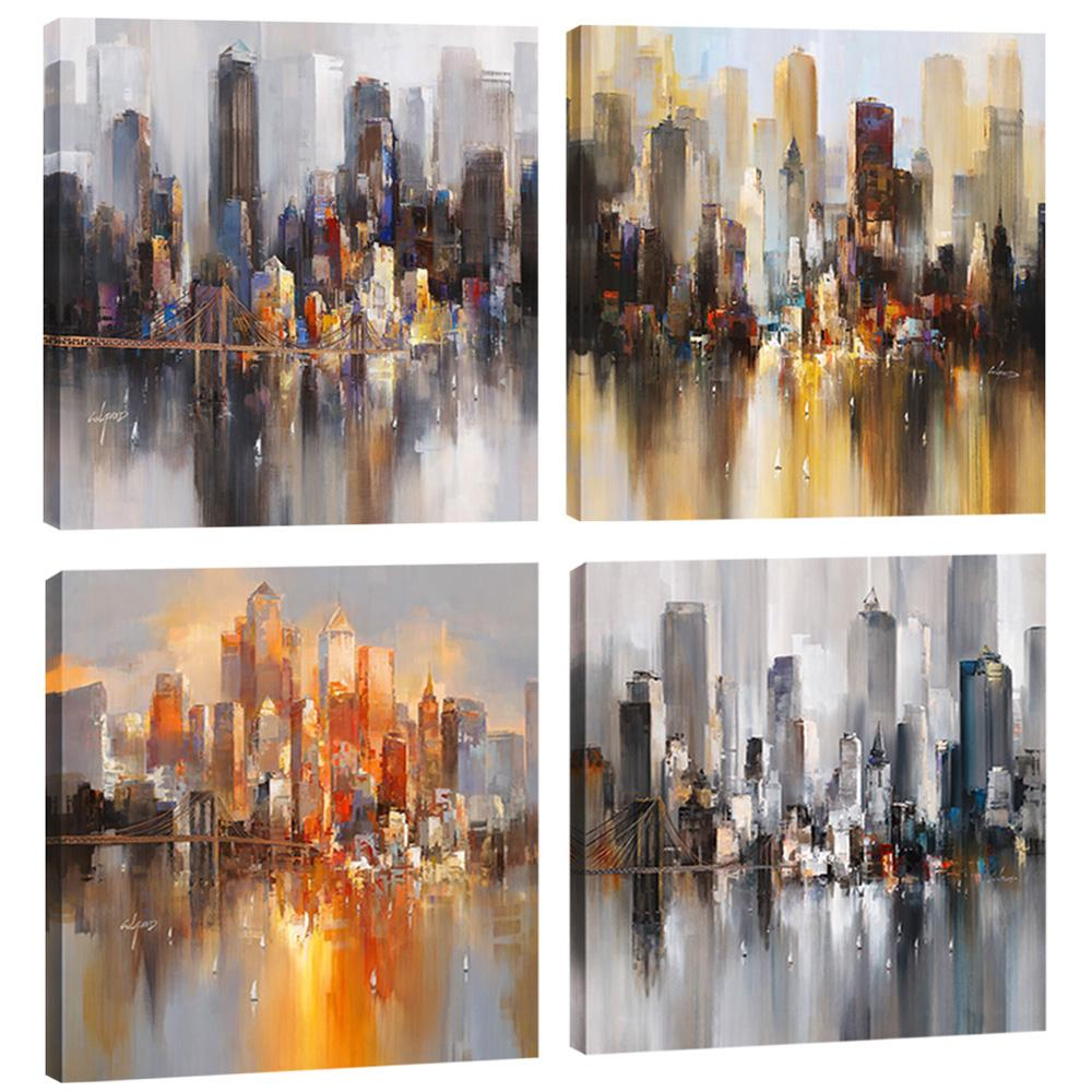 Amosi Art 4 Pieces Canvas Wall Art Abstract New York City Canvas Printings Landscape Painting Modern for Living Room Decor Stretched Framed