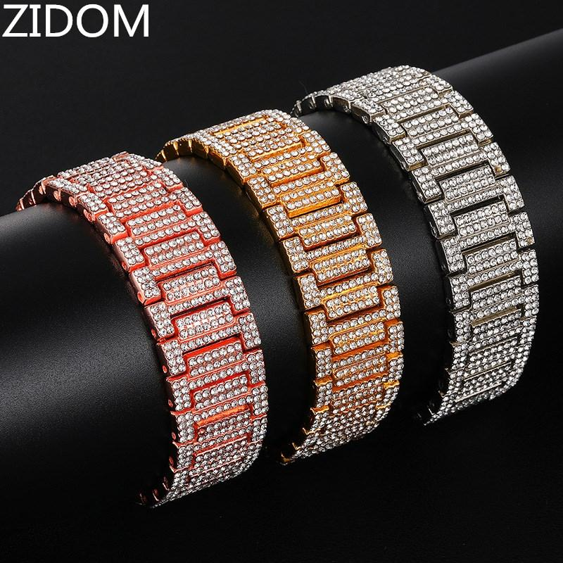Men Hip hop iced out Bling bracelet micro pave rhinestone High quality Male chains Bracelets Hiphop jewelry gifts Drop shipping