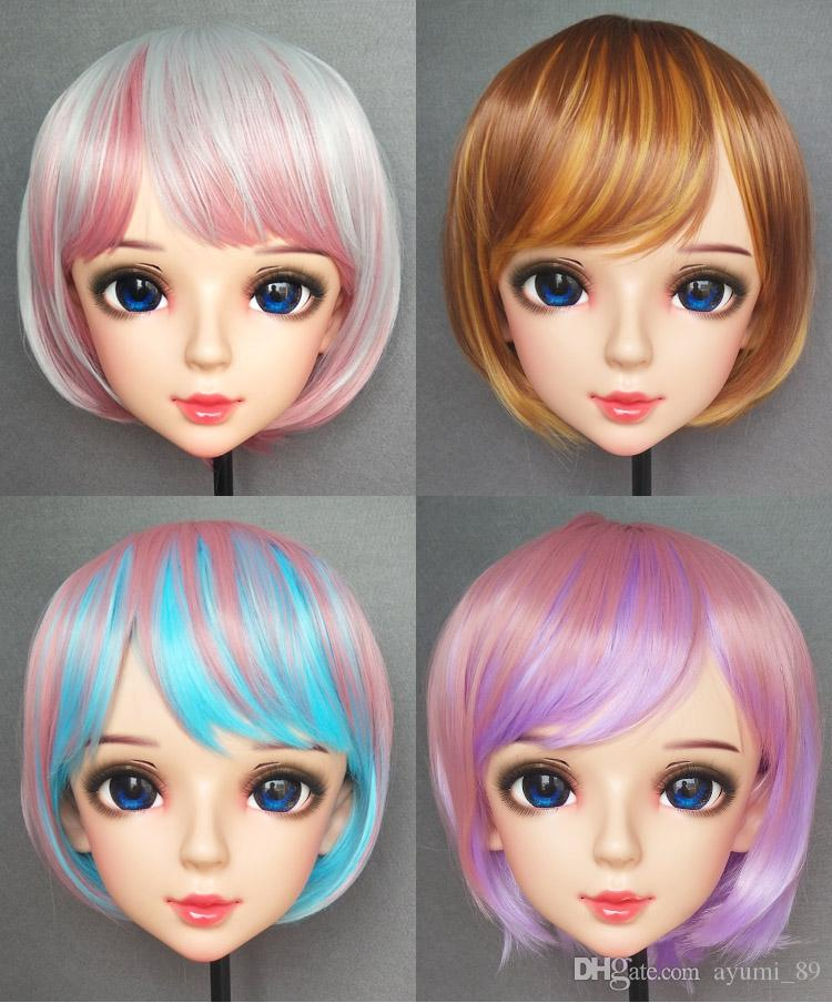 (DM-WIG05) Resin Japan Anime COS Kigurumi Cosplay Mask Unisex Lolita Crossdressing BJD Masks Custom WIG 35cm