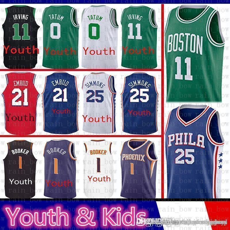 88088f9463cb 2019 Boston 11 Kyrie Youth Kids Irving Celtic Jayson 0 Tatum Jersey Phoenix  1 Booker Suns Ben 25 Simmons Philadelphia Joel 76ers Embiid From Rain bow
