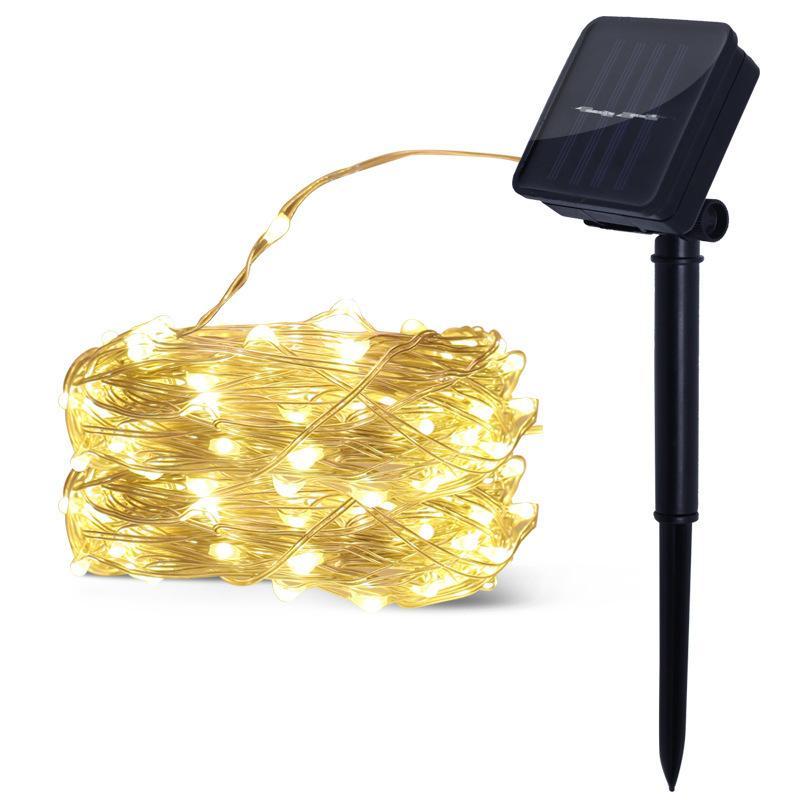 Arbre Cour Fil Chaîne Extérieur Lampe Étanche Colorées Énergie Cuivre Led Lumières Étoiles Décoration De Solaire QrCtshd