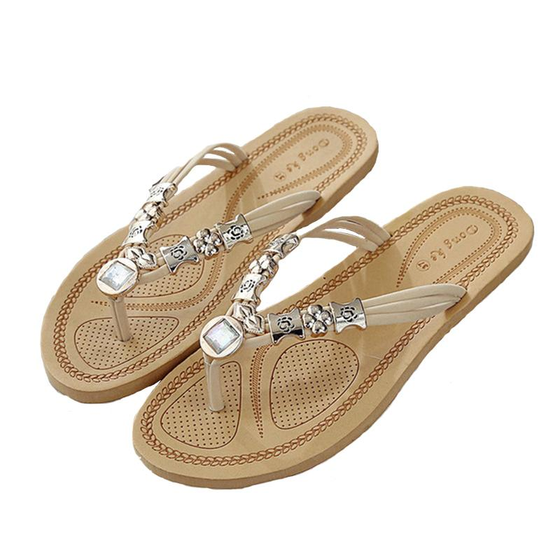 630767c77177 2019 Female Summer Toe Flat Sandals And Slippers Flat With Sandals And  Slippers Beaded Rhinestone Flip Flops Beach Shoes Female Bearpaw Boots  Silver Shoes ...