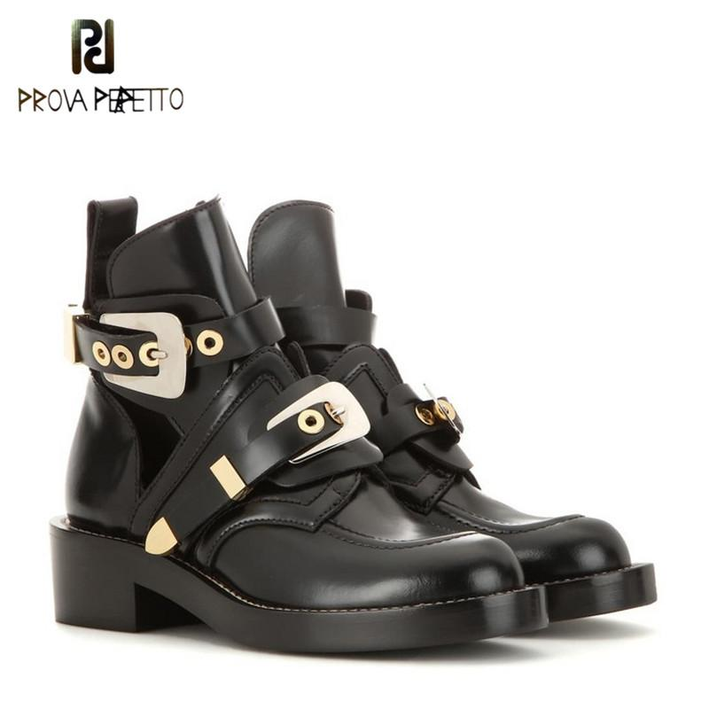ef00cbfcb18b Prova Perfetto Gold Silver Buckle Ankle Boots Women Fashion Brand Low Heel Shoes  Women Motorcycle Boots Spring Snowboard Boots Rubber Boots From Crystalcle